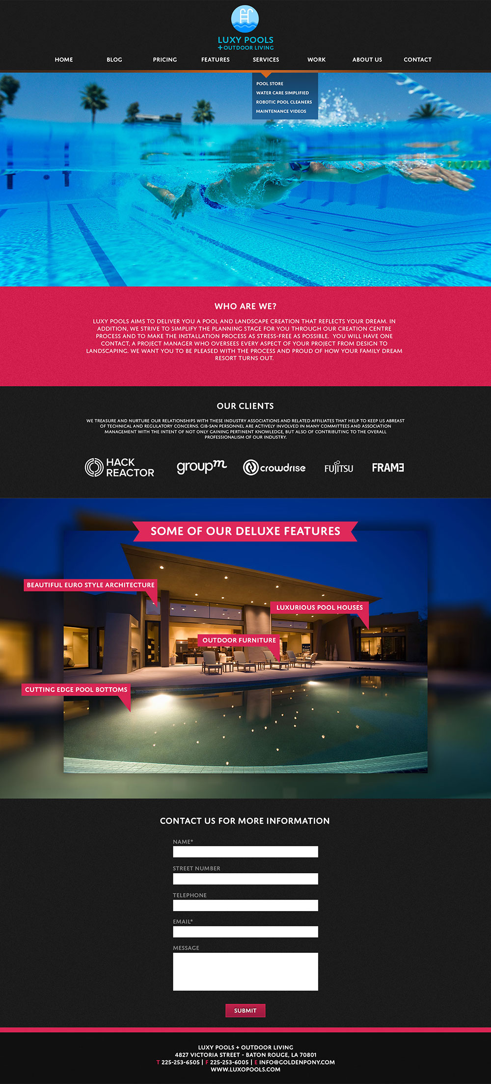 Luxy Pools Home Page